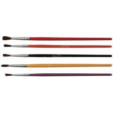Кисти художественные, натуральная щетина, деревянная ручка, круглые, набор 5 шт.
