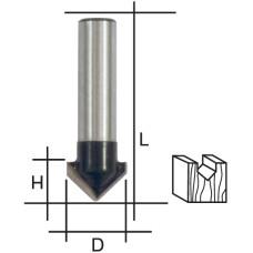 Фреза пазовая V-образная, DxHxL = 12х12х42 мм